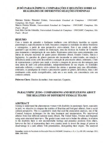 JUDÔ PARAOLÍMPICO - COMPARAÇÕES E REFLEXÕES