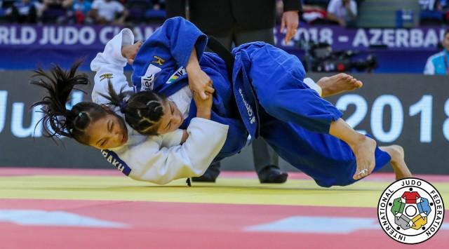 World Championships Seniors Baku 2018, ROUND 2 KAZ GALBADRAKH vs BRA CHIBANA, -48 kg (c) Sabau Gabriela