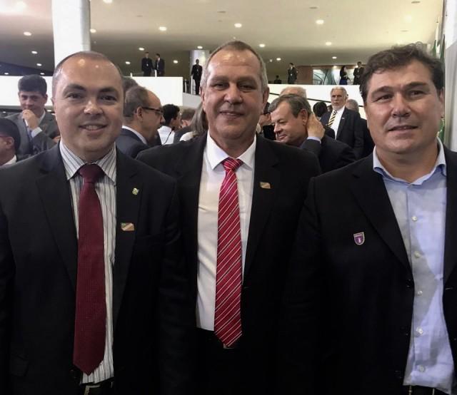 Rogério Sampaio, Silvio Acácio e Aurélio Miguel no Centenário Olímpico. Foto: Divulgação/CBJ