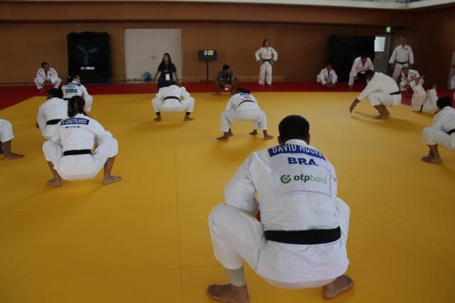 Treinamento da seleção brasileira de judô em Hamamatsu, Japão, em 2018.