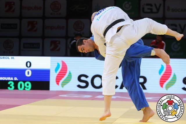 David Moura (+100kg) na disputa pelo bronze com Henk Grol (NED). Foto: Gabriela Sabau/IJF