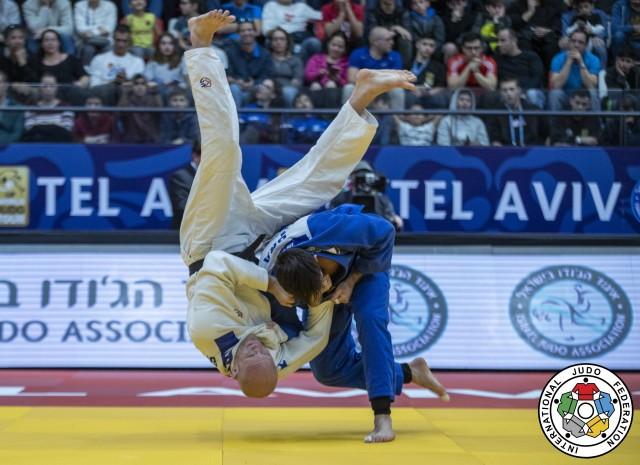Tel Aviv agora é Grand Slam. Em 2020, o Brasil conquistou 5 medalhas em Israel, entre elas o bronze de Rafael Macedo. Foto: Gabriela Sabau/IJF