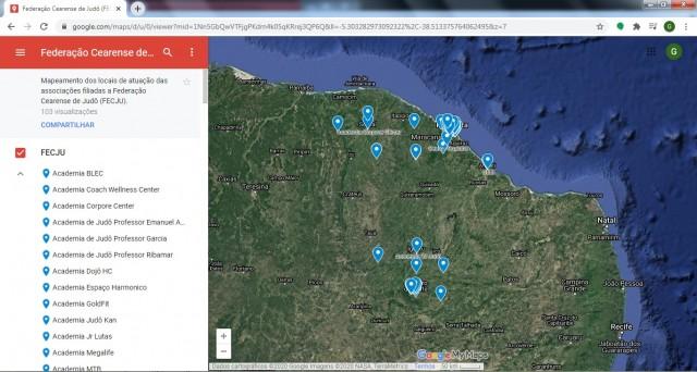 O FECJU Maps apresenta, além da localização dos dojôs, os dados de contato, nome do professor responsável, público alvo e se há pagamento de mensalidade de cada um dos locais