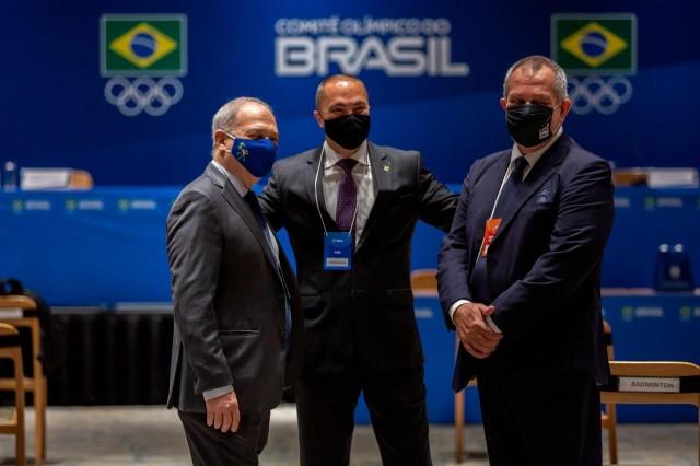 Paulo Wanderley, Rogério Sampaio e Silvio Acácio na Assembleia Eletiva do COB, em 2020. Foto: Miriam Jeske/COB