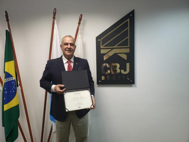 Silvio Acácio Borges, presidente reeleito para o mandato 2021-2025. Foto: Aline Carvalho/CBJ